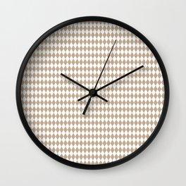Pantone Hazelnut Rippled Diamonds, Harlequin, Classic Rhombus Pattern Wall Clock