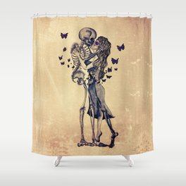 Always Kiss Goodnight Skeletons Shower Curtain
