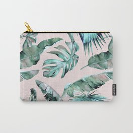 Tropical Palm Leaves Turquoise Green Coral Pink Carry-All Pouch
