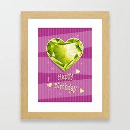 Birthstones August Peridot Heart shaped Birthday Framed Art Print
