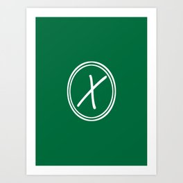 Monogram - Letter X on Cadmium Green Background Art Print
