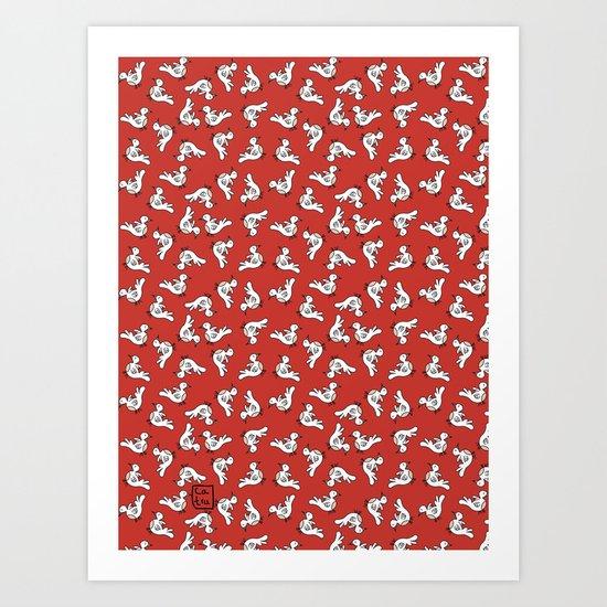 Birds {All birdie around - red} Art Print