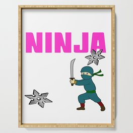 Birthday Ninja Party Samurai Ninjas Gift Japanese Ninja stars Fighter Gift 7th Serving Tray