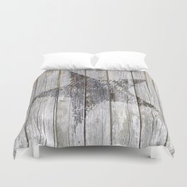 Grunge Star on old weathered grey wood Duvet Cover
