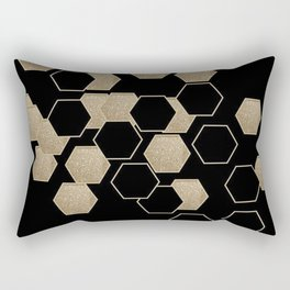contemporary preppy scandinavian minimalist Black and gold hexagon Rectangular Pillow