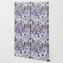 Yoga Asanas in Amethyst on geometric pattern Wallpaper