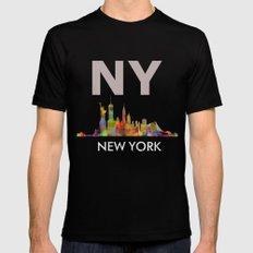 NY-New York Skyline HQ MEDIUM Mens Fitted Tee Black