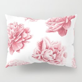 Pink Rose Garden on White Pillow Sham