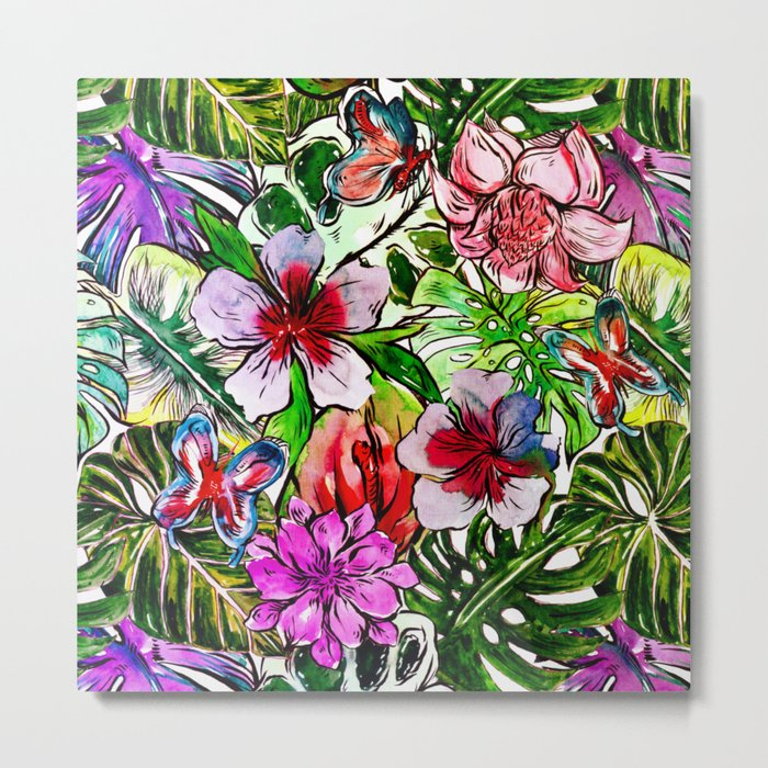 Tropical Flower Hibiscus Garden Metal Print