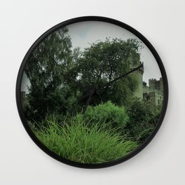 Warwick Castle Bathed in Green Light Wall Clock