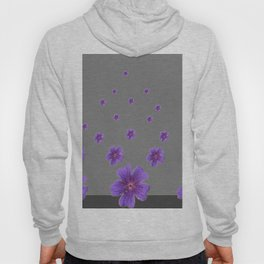 PURPLE FLOWERS COLLAGE CHARCOAL GREY Hoody
