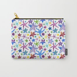 Rainbow Watercolor Starfish Pattern - White Carry-All Pouch