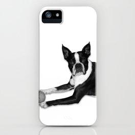 Fetch Boston Terrier B/W iPhone Case