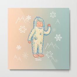 Yeti - Cute Cryptid Metal Print