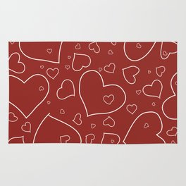 Red and White Hand Drawn Hearts Pattern Rug