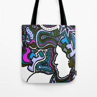 techno Tote Bags featuring Purple Techno by Madison R. Leavelle