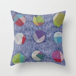Layered Dots on Blue Throw Pillow