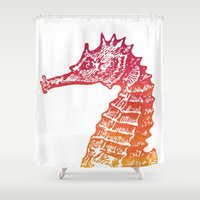 seahorse Shower Curtains featuring Red & Orange Seahorse by Aloke Design