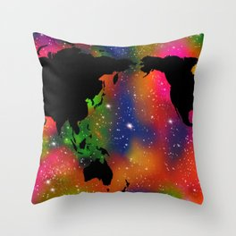 Colorful world And Universe art Throw Pillow