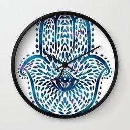 Blue Hamsa Hand Wall Clock