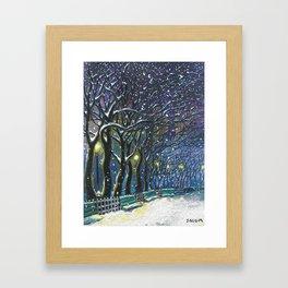 Snowy night park Framed Art Print