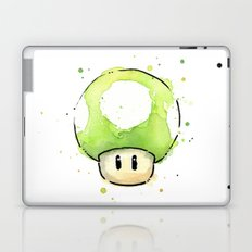 1UP Green Mushroom Painting Mario Gaming Geek Videogame Art Laptop & iPad Skin