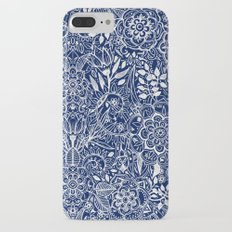 Detailed Floral Pattern in White on Navy Slim Case iPhone 7 Plus
