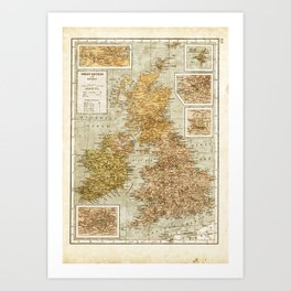 Vintage Map of Great Britain and Ireland, 1947 Art Print