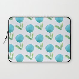 Blue Watercolor Floral Contemporary Pattern Laptop Sleeve