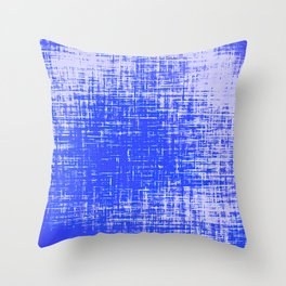 Woven Cerulean Blue and White Abstraction Throw Pillow