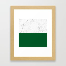 emerald green and white marble Framed Art Print