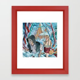 Escape from Temptation, oil painting portrait of Hansel and Gretel in Candy Land Framed Art Print