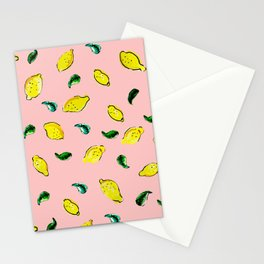 Watercolor Lemons Pink #homedecor #spring #watercolor Stationery Cards