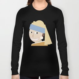 Smiling Girl with a Pearl Earring Long Sleeve T-shirt