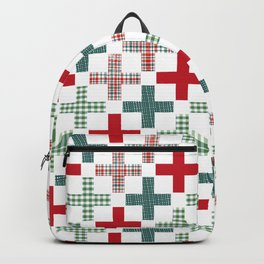 Swiss cross christmas minimal pattern red and green holiday festive pattern gifts Backpack