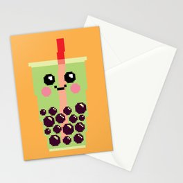 Happy Pixel Bubble Tea Stationery Cards