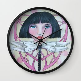Art Deco Face and Dragonfly Wall Clock