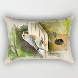 Watercolor Bluebird Art Rectangular Pillow