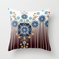 folk Throw Pillows featuring Folk Festival by Vikki Salmela