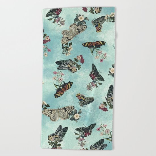 Butterfly Floral Beach Towel