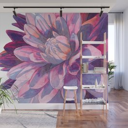 Abstract Dahlia, A Watercolor Painting Wall Mural