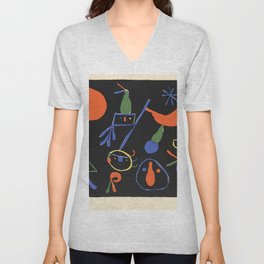 Personnages on Black Ground by Joan Miró Unisex V-Neck