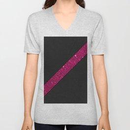 Elegant modern black leather neon pink glitter stripe Unisex V-Neck
