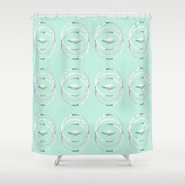 Minimalist Waves in Mint Shower Curtain