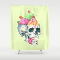 brain Shower Curtains featuring brain freeze by Laura Graves
