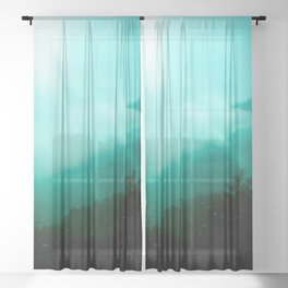 Morning Sun Lights Trough Mountains Clouds - Teal Textured Photomontage Sheer Curtain