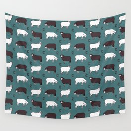 Sheep spread green Wall Tapestry