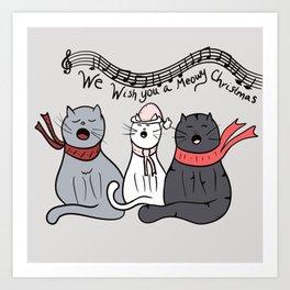 Christmas Singing Cats We Wish You A Meowy Christmas Art Print