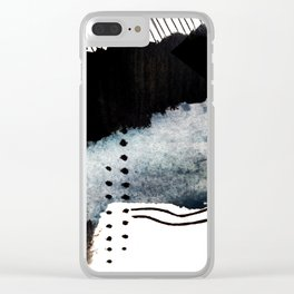 Closer - a black, blue, and white abstract piece Clear iPhone Case