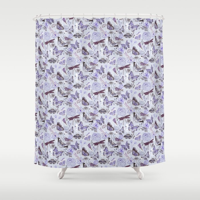 Dragonflies Erflieoths With Plants On Pale Blue Shower Curtain